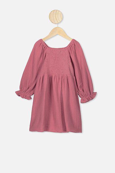 Lillie Long Sleeve Dress, FADED ROSE