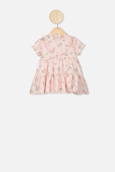 Carol Short Sleeveflutter Dress, CRYSTAL PINK/OLIVIA FLORAL