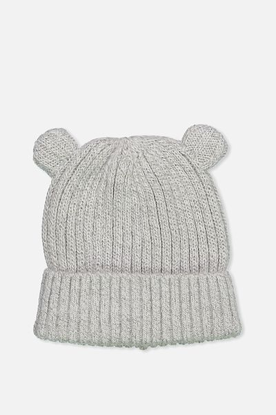 Baby Knit Beanie, CLOUD MARLE RIBBED