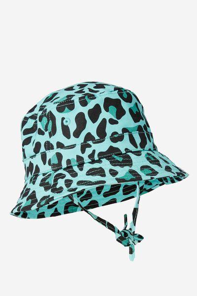 Baby Bucket Hat, BLUE/LEOPARD