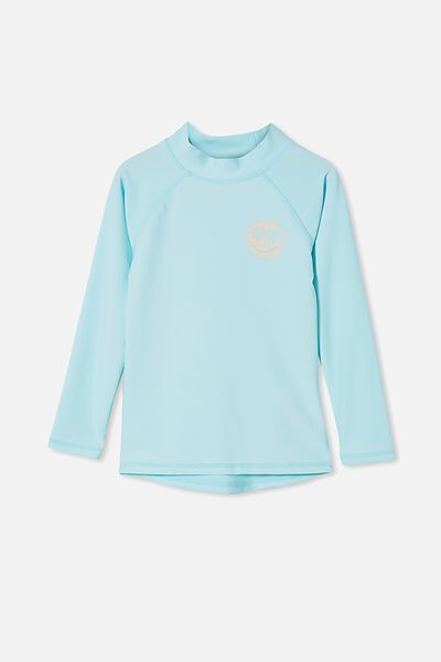 Flynn Long Sleeve Raglan Rash Vest, DREAM BLUE/SMILE