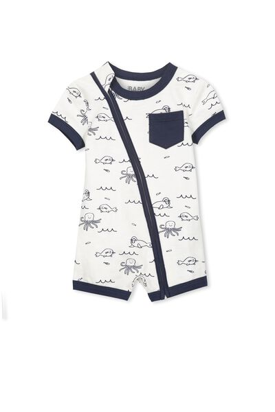 Mini Ss Zip Through Romper, VANILLA/SEA CREATURES