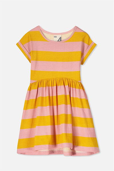 Nicola Short Sleeve Dress, GOLDEN YELLOW/ROSE STRIPE