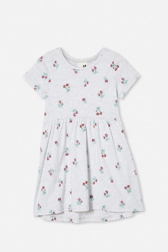 Freya Short Sleeve Dress, SUMMER GREY MARLE/VERY BERRY POSEY