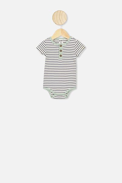 The Short Sleeve Placket Bubbysuit, ASH STRIPE/STONE GREEN BIND