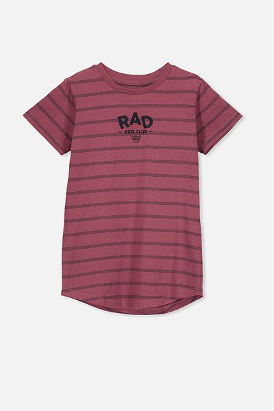 The Cruz Short Sleeve Long Line Tee, VINTAGE BERRY YDS/RAD