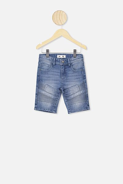 Biker Moto Short, ALASKAN MID BLUE WASH