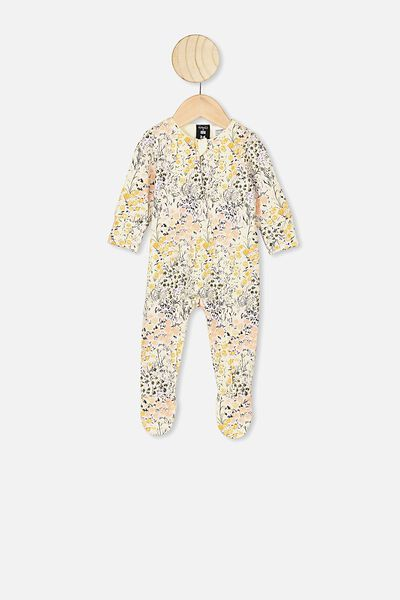 The Long Sleeve Zip Romper, LCN KIP LITTLE FLOWERS