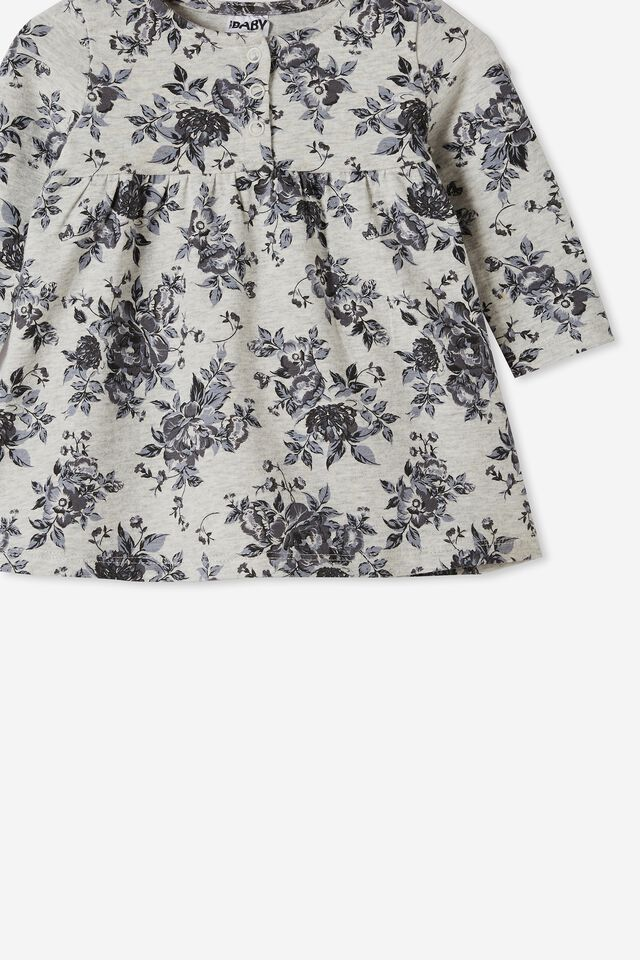 Molly Long Sleeve Dress, CLOUD MARLE/RABBIT GREY WHITBY FLORAL
