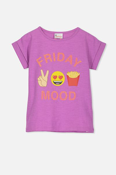 Lux Short Sleeve Tee, EMOJI FRIDAY MOOD BODACIOUS/DROP SHOULDER