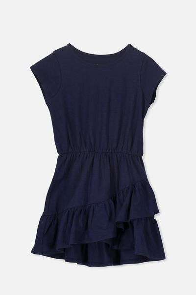 Jessie Short Sleeve Dress, PEACOAT/SLUB