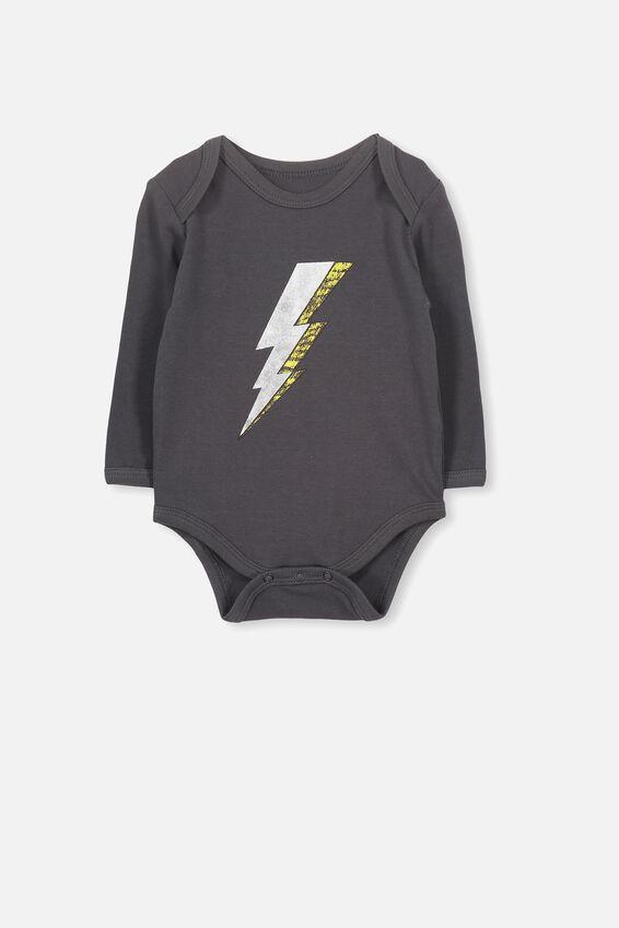 Mini Long Sleeve Bodysuit, PHANTOM/LIGHTENING BOLT