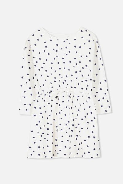 Pearl Long Sleeve Dress, VANILLA/PEACOAT SPOT