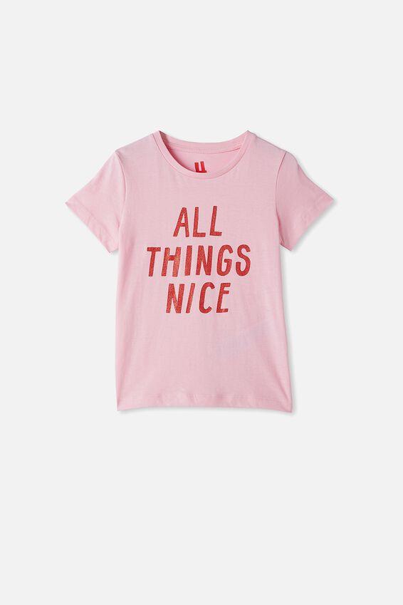 Penelope Short Sleeve Tee, CALI PINK/ALL THINGS NICE