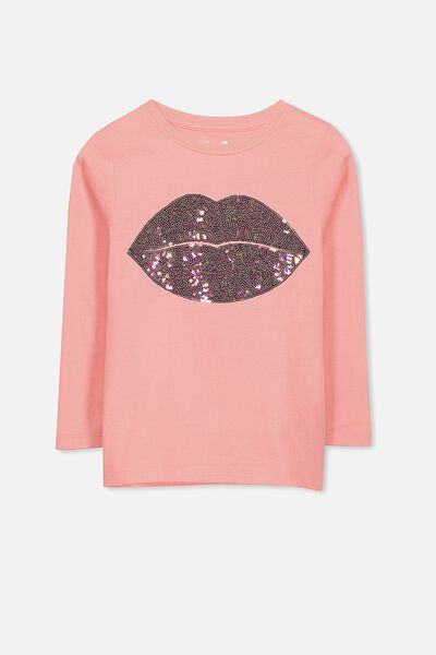 Anna Long Sleeve Split Hem, AMORE PINK/SEQUIN LIPS