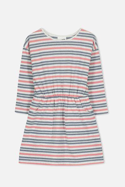 Mara Long Sleeve Dress, SUMMER GREY MARLE/STRIPE