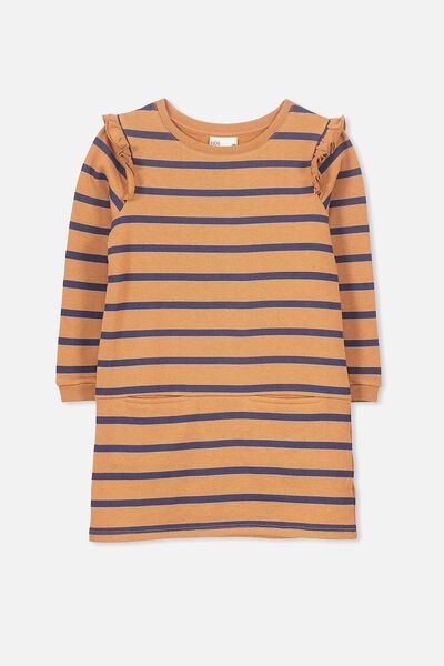 Claire Long Sleeve Dress, WALNUT/STRIPE