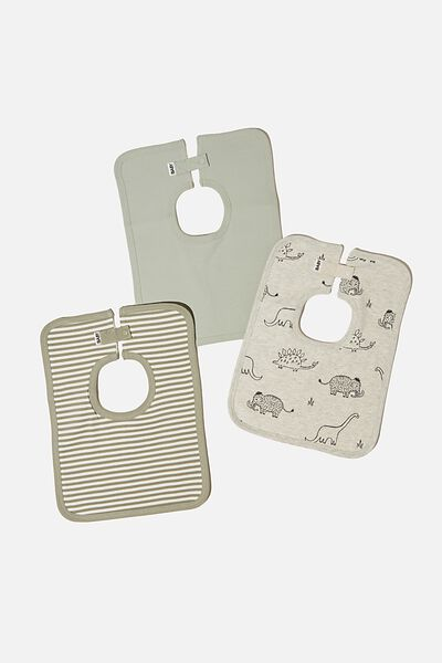 3 Pack Darcey Square Bib, DINO MAMMOTH/STONE GREEN/SILVER SAGE STRIP