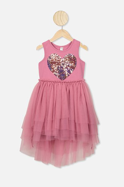 Iris Tulle Dress, VERY BERRY TIERED/HEART
