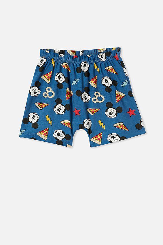 Hudson Short Sleeve Pyjama Set Licensed, LCN DIS MICKEY PIZZA PRETZELS / NAVY BLAZER