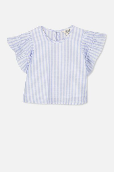 Blair Flutter Top, BLUE/VANILLA STRIPE
