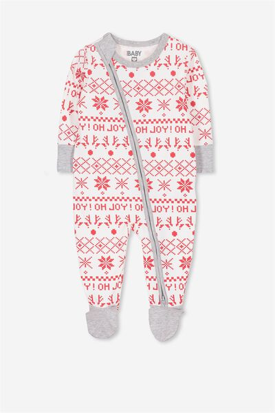 Mini Zip Through Romper, VANILLA/FAIR ISLE
