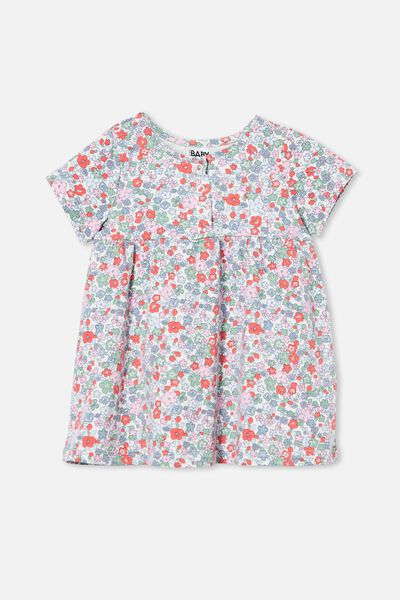 Milly Short Sleeve Dress, VANILLA/CALI PINK GARDEN FLORAL
