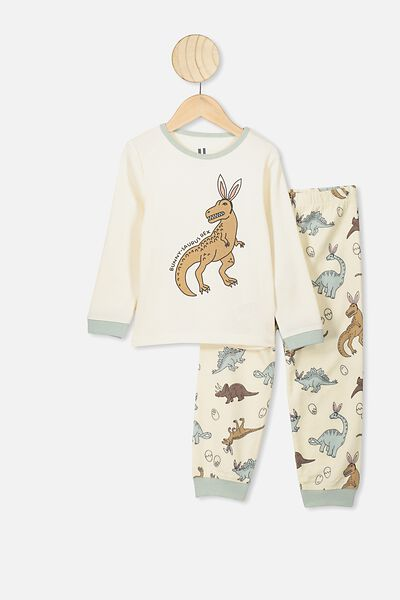 Noah Long Sleeve Pj Set, DARK VANILLA/BUNNYSAURUS