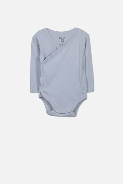 Newborn Long Sleeve Wrap Bubbysuit, SURF WASH