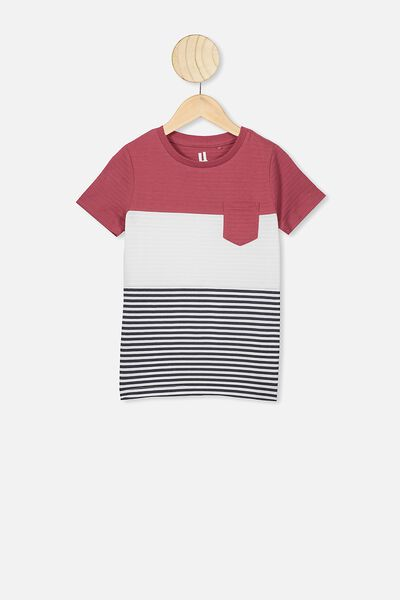 Louis Short Sleeve Texture Tee, RED STRIPE SPLICE