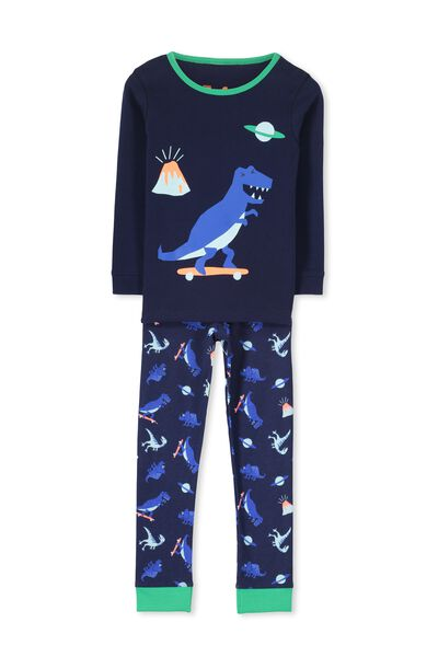 Harry Ls Boys Pj Set, SKATEBOARD DINO