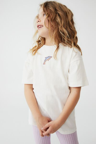 Scout Embellished Short Sleeve Tee, VANILLA/DOLPHIN EMBROIDERY