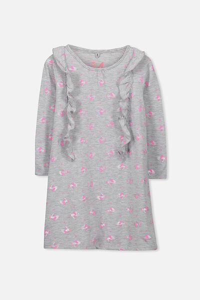 Lily Long Sleeve Ruffle Nightie, RAINBOW BIRDS