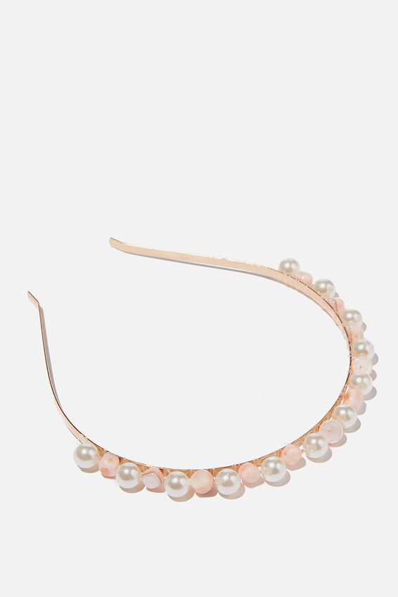 Luxe Headband, PINK AND PEARLS