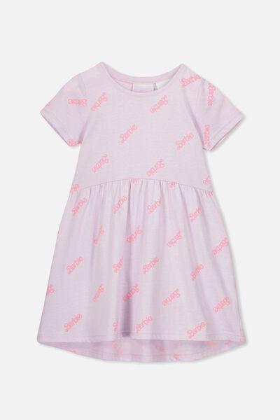 Freya Short Sleeve Dress, LCN MAT ORCHID HUSH MARLE/BARBIE