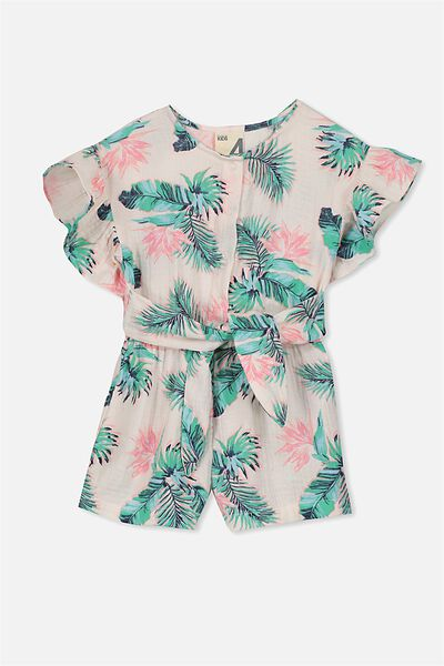 Jodie Short Jumpsuit, SHELL PEACH / TROPICAL PALM