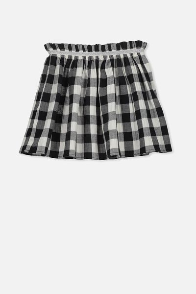 Serina Skirt, VANILLA/BLACK GINGHAM