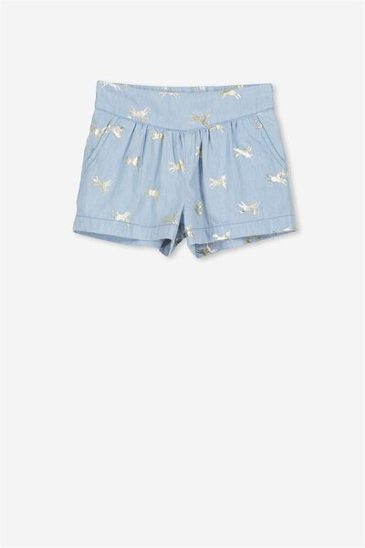 Callie Short, LIGHT BLUE/GOLD UNICORNS