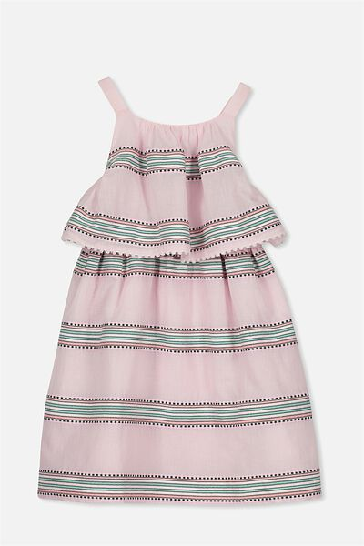 Tabitha Dress, PINK TEXTURED STRIPE
