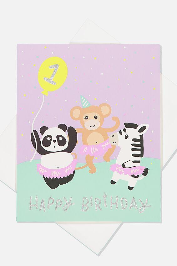 Jesse Birthday Card, 1ST BIRTHDAY ANIMAL PARTY