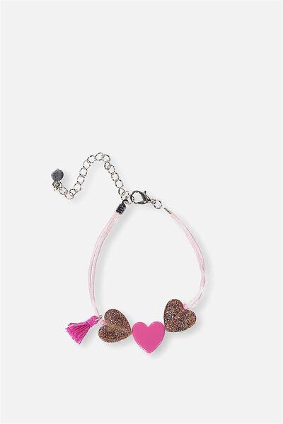 Sparkle Heart Bracelet, VIBRANT PINK