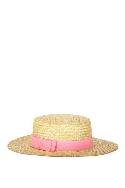 Wide Brim Boater Hat, HIGHLIGHTER PINK
