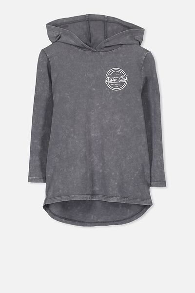 Aiden Hooded Long Sleeve Tee, GRAPHITE SFW/SKATE SHOP