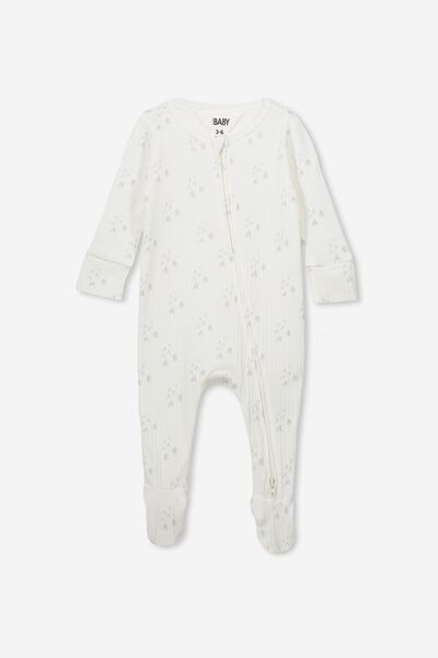 Newborn Zip Through Romper, MILK/MID GREY FOREST