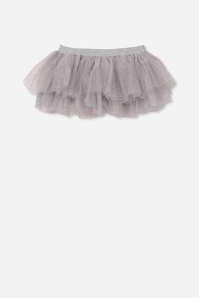 Florence Tulle Skirt, SILVER GLITTER/WINTER GREY