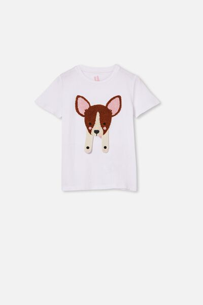 Stevie Short Sleeve Embellished Tee, WHITE/ CHIHUAHUA