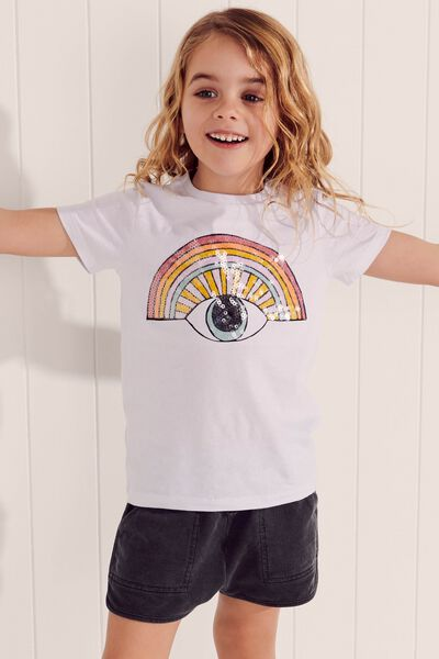 Stevie Ss Embellished Tee, WHITE/SEQUIN RAINBOW EYE/MAX