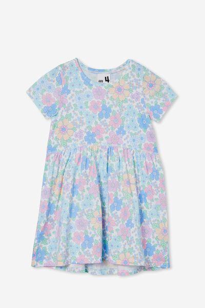 Freya Short Sleeve Dress, VANILLA/BRONTE RETRO FLORAL