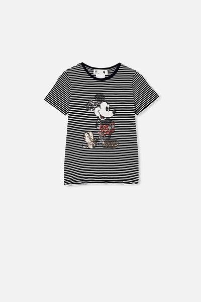 License Short Sleeve Tee, LCN DIS INDIAN INK STRIPE/SEQUIN MICKEY