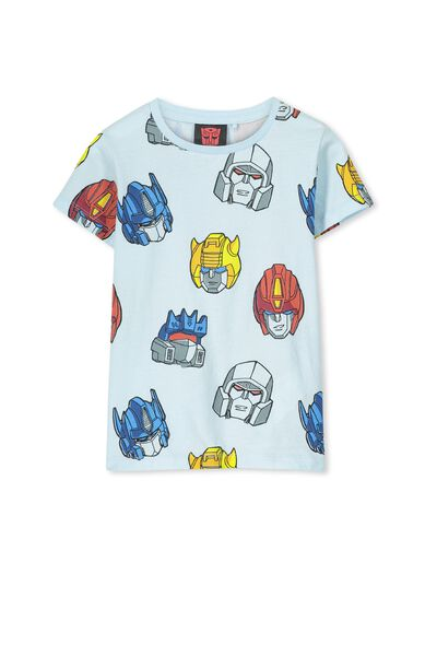 Boys Transformers Heads Short Sleeve Tee, OSAKA BLUE/TRANSFORMERS HEADS